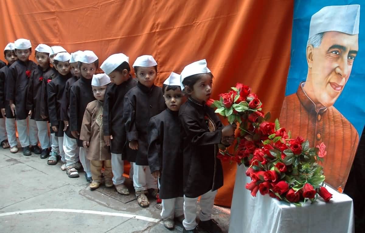 Children Offering Flowers To Pandit Jawaharlal Nehru During