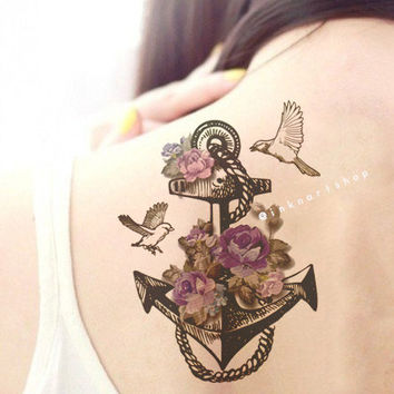 48 anchor with birds tattoos collection for Anchor with flowers tattoo