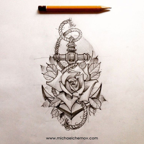 26e0bfe4d Classic Black Ink Anchor With Roses Tattoo Design