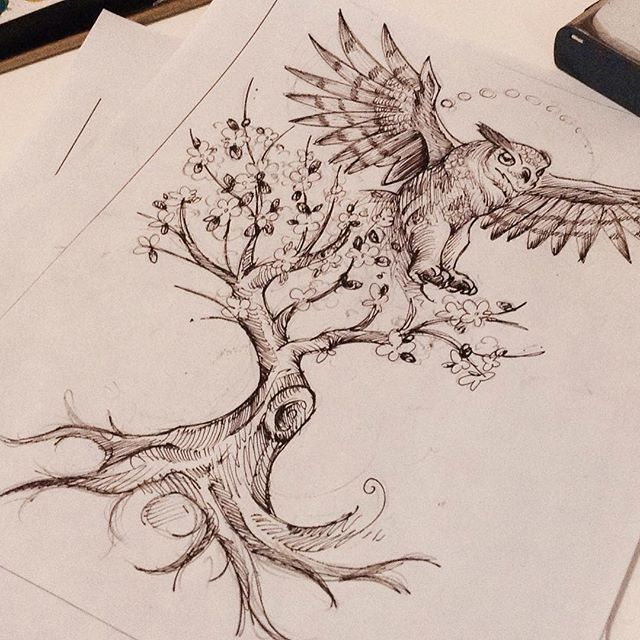 52+ Owl Tree Tattoos Ideas