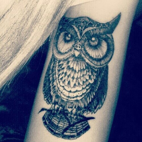 Classic Black Ink Owl Tattoo Design For Girl Half Sleeve Owl Sleeve Tattoos For Girls