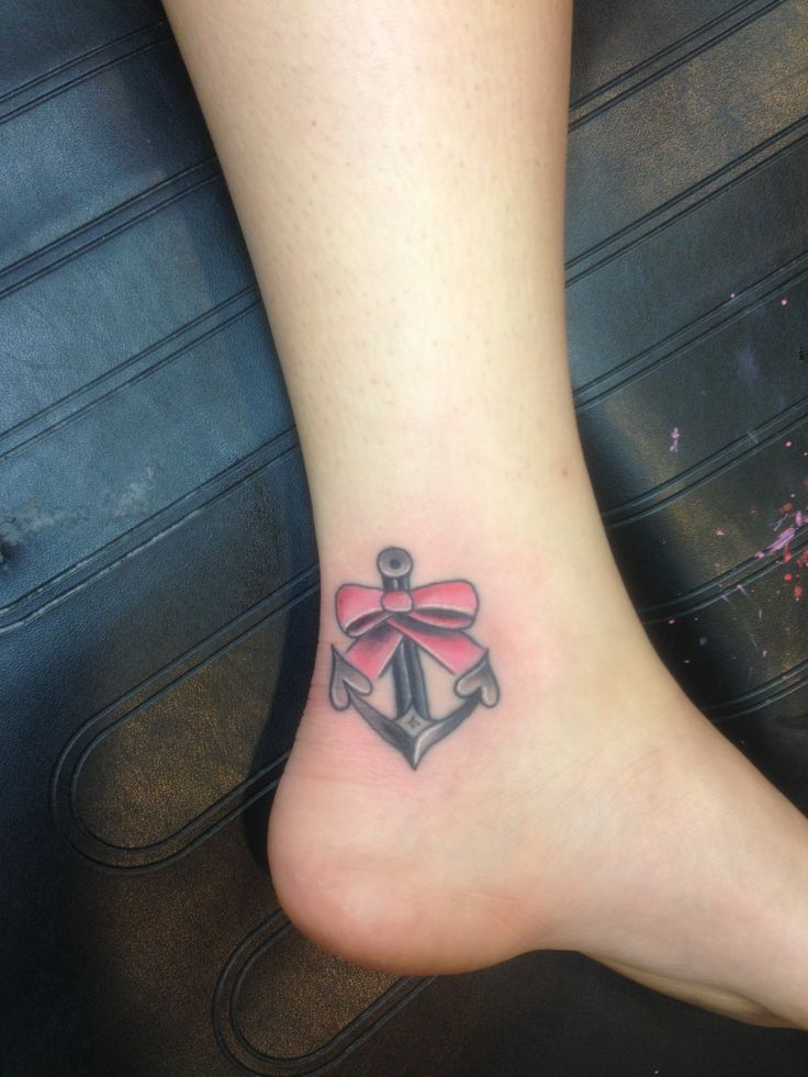 50 cute anchor bow tattoos collection for Bow tattoos on ankle