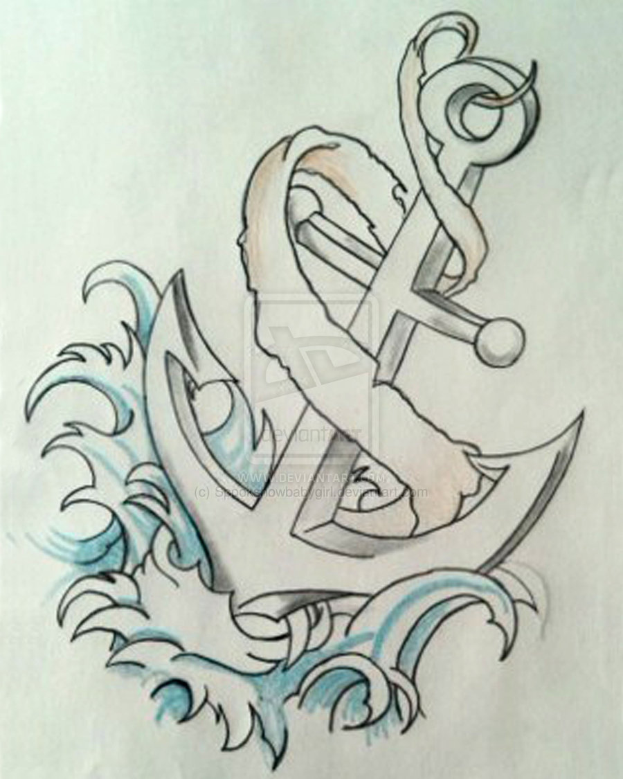 Cool Anchor With Ribbon Tattoo Design By Spookshowbabygirl