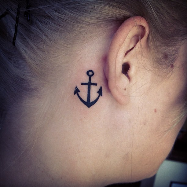 95ae423dc Cute Black Anchor Tattoo On Girl Right Behind The Ear