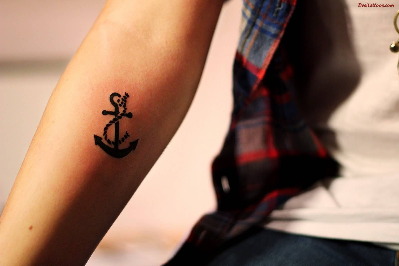 Black ink tattoos for girls - Cute Black Ink Anchor Tattoo On Girl Right Forearm