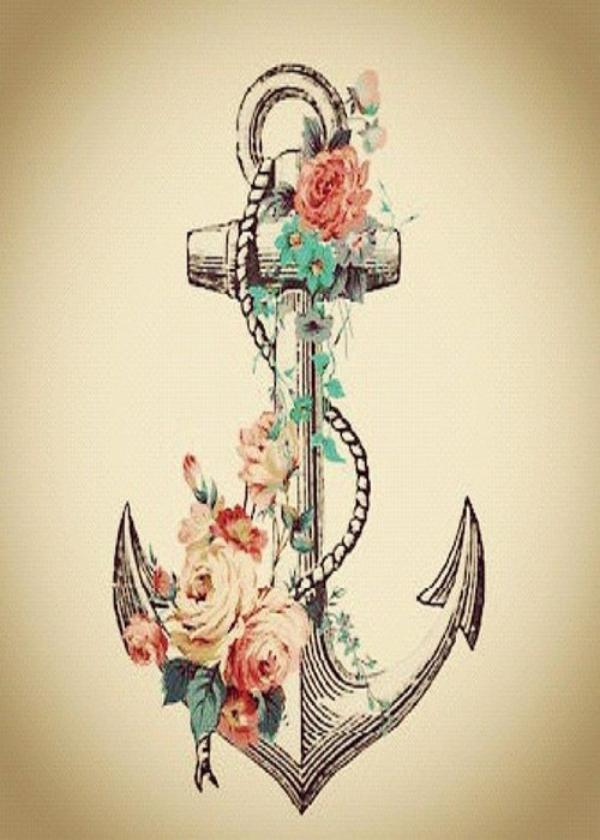 60 cute anchor tattoos ideas for Anchor with flowers tattoo