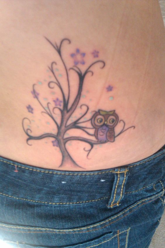 Owl tattoo lower back for Cute lower back tattoos tumblr