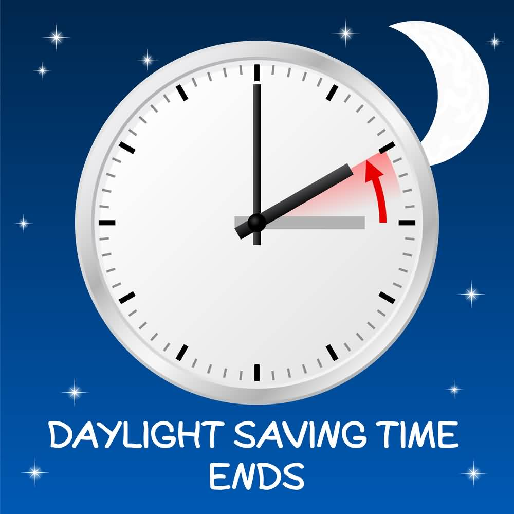 Daylight Saving Time Ends Clock Illustration