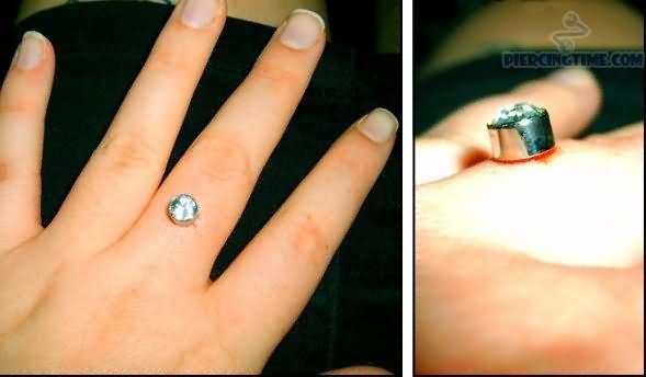 Diamond Gem Finger Ring Piercing