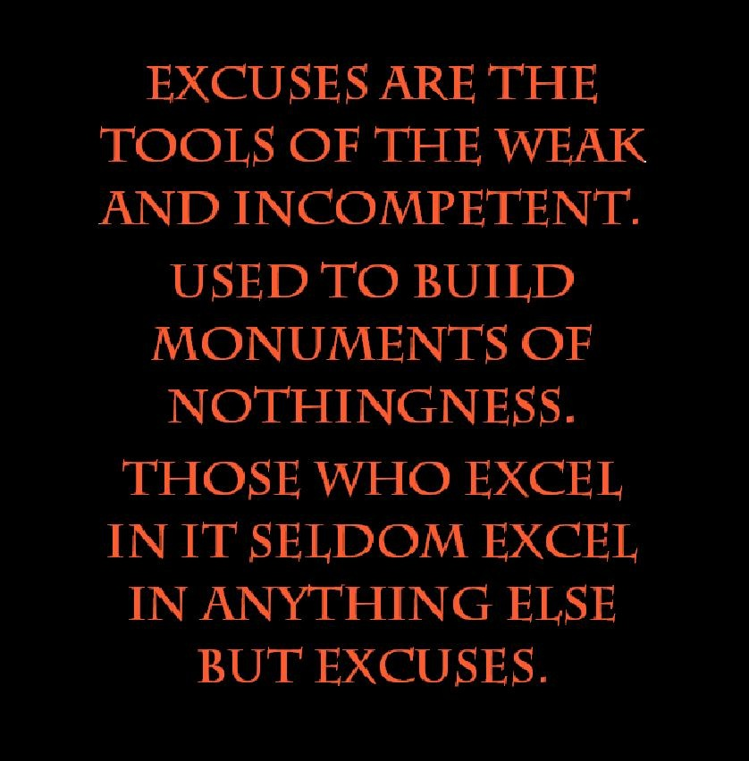 Excuses Quotes Custom 64 Beautiful Excuse Quotes And Sayings