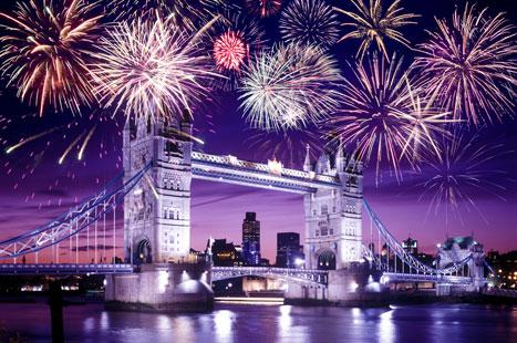 fireworks over the london bridge during guy fawkes night celebration