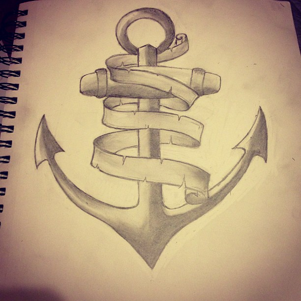 24+ Anchor With Banner Tattoos Designs