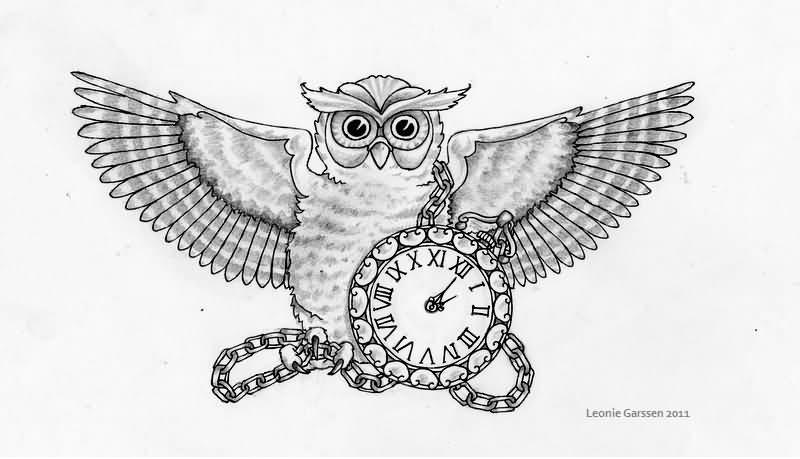 40+ Awesome Owl Clock Tattoos