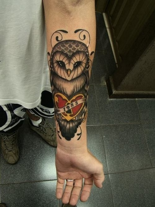 44 amazing owl lock tattoos for Memorial forearm tattoos