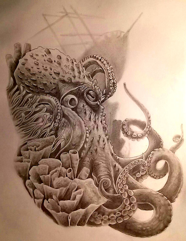 realistic grey ink octopus with flowers tattoo design
