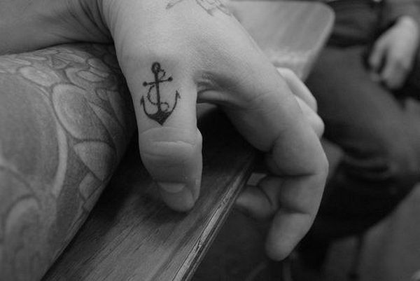 76f913c58 Simple Black Anchor Tattoo On Left Hand Thumb