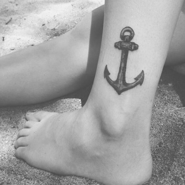 ac3f026d6 Simple Black Ink Anchor Tattoo On Left Leg