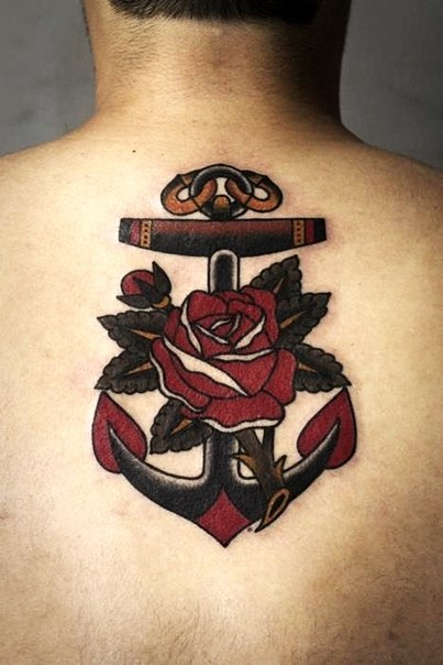 0cf189581 Traditional Anchor With Rose Tattoo On Man Upper Back