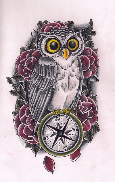 26 nice owl compass tattoos. Black Bedroom Furniture Sets. Home Design Ideas