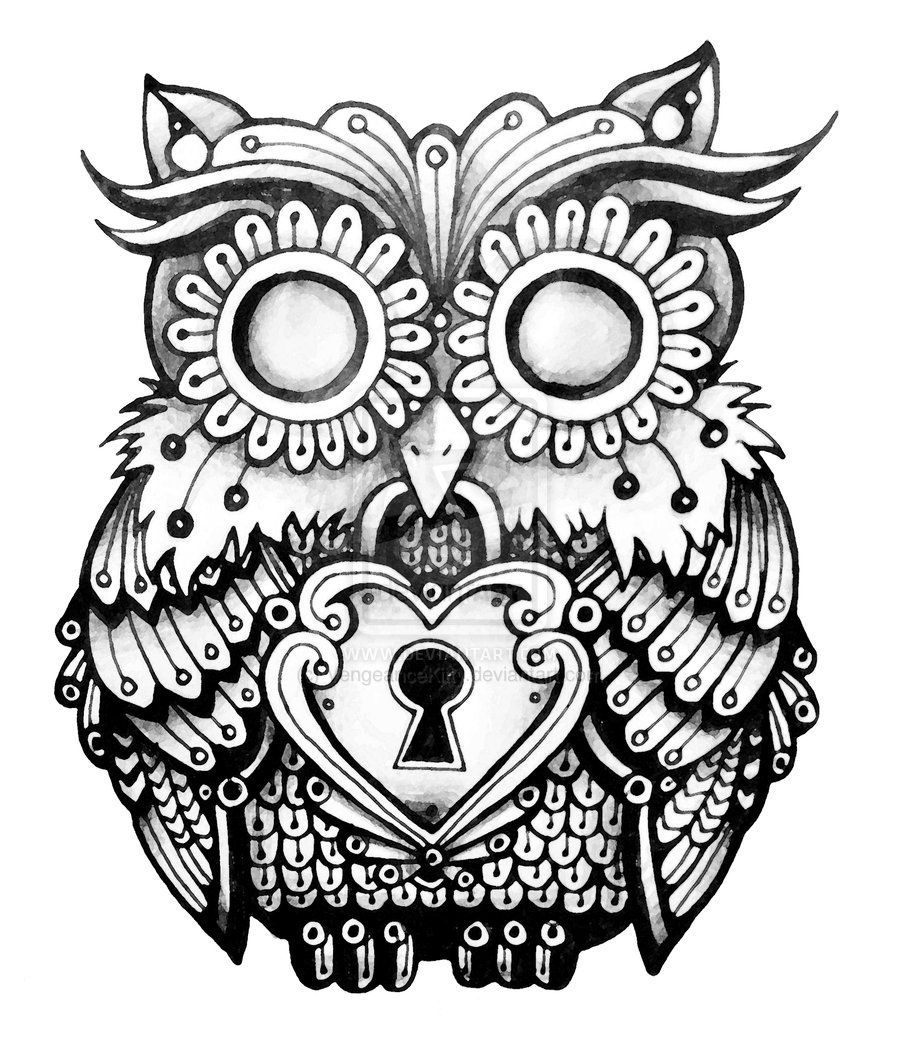 Owl Line Drawing Tattoo : Amazing owl lock tattoos