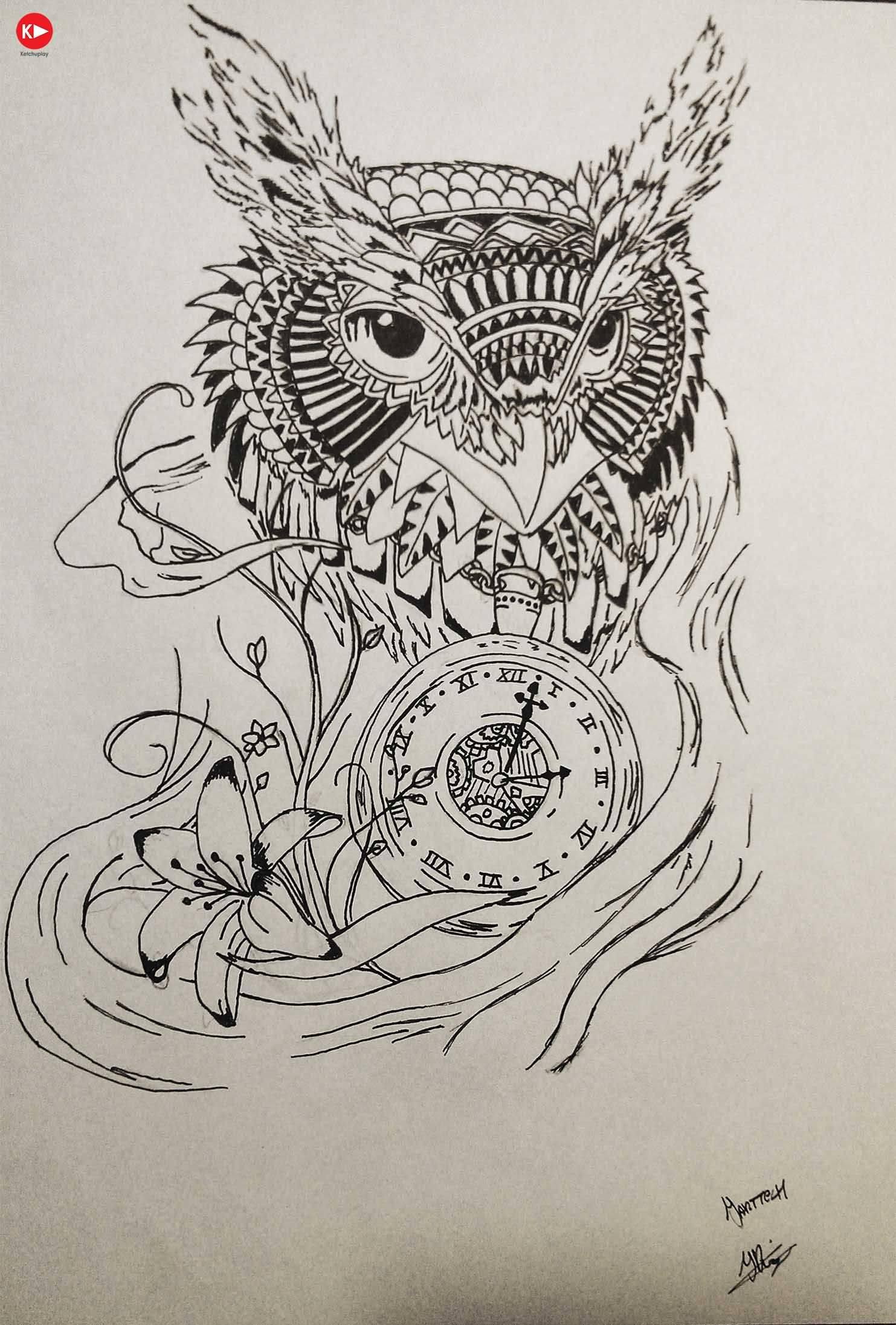 40 awesome owl clock tattoos. Black Bedroom Furniture Sets. Home Design Ideas