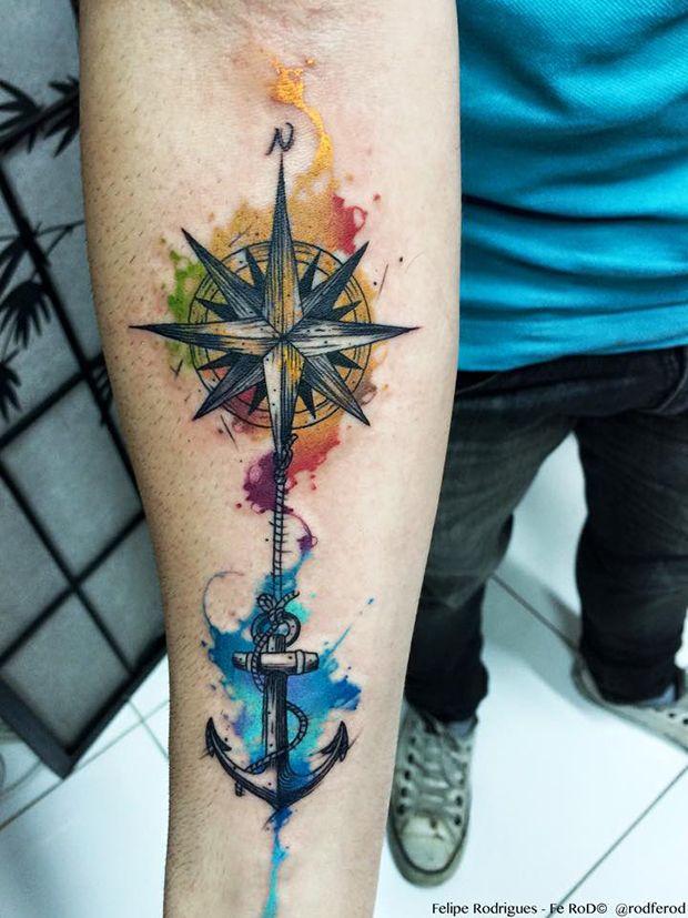 Muito 48+ Best Anchor Compass Tattoos RK13