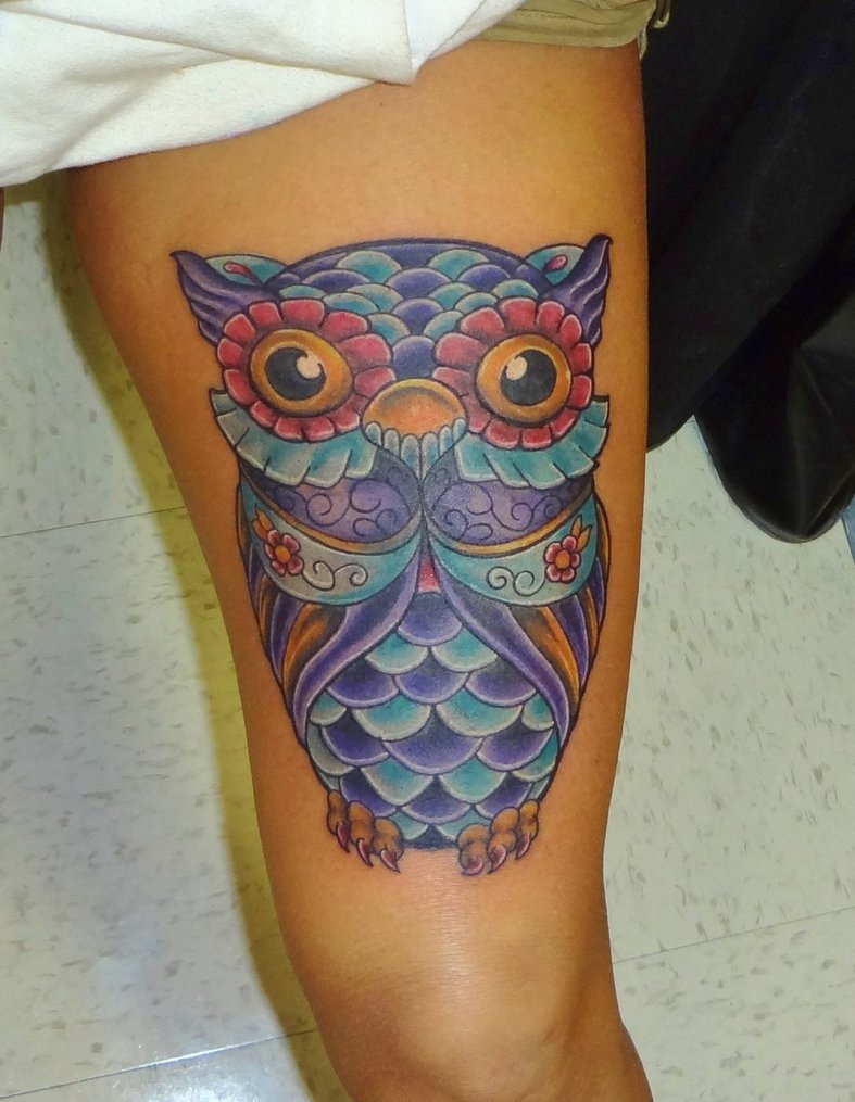 50 owl tattoos for girls for Colorful thigh tattoos