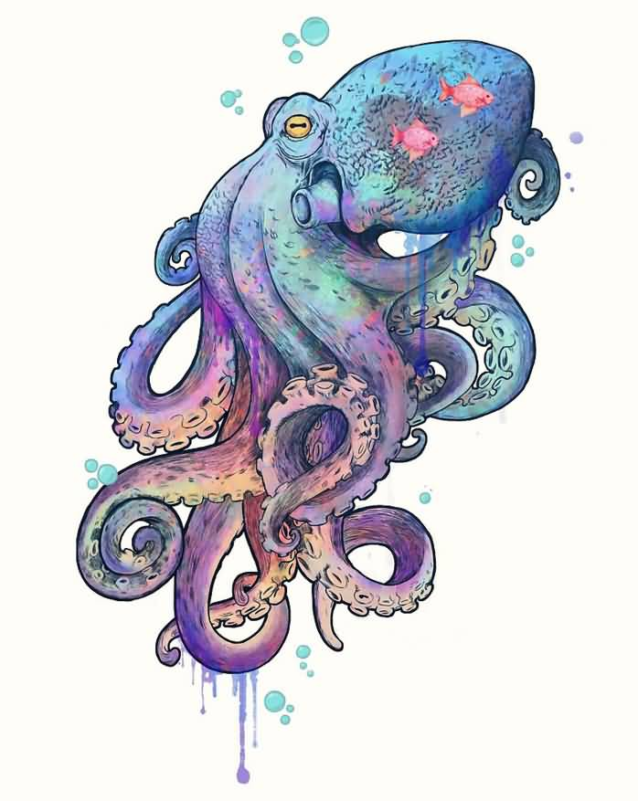 Wonderful watercolor octopus tattoo design by laura graves for Colorful octopus painting