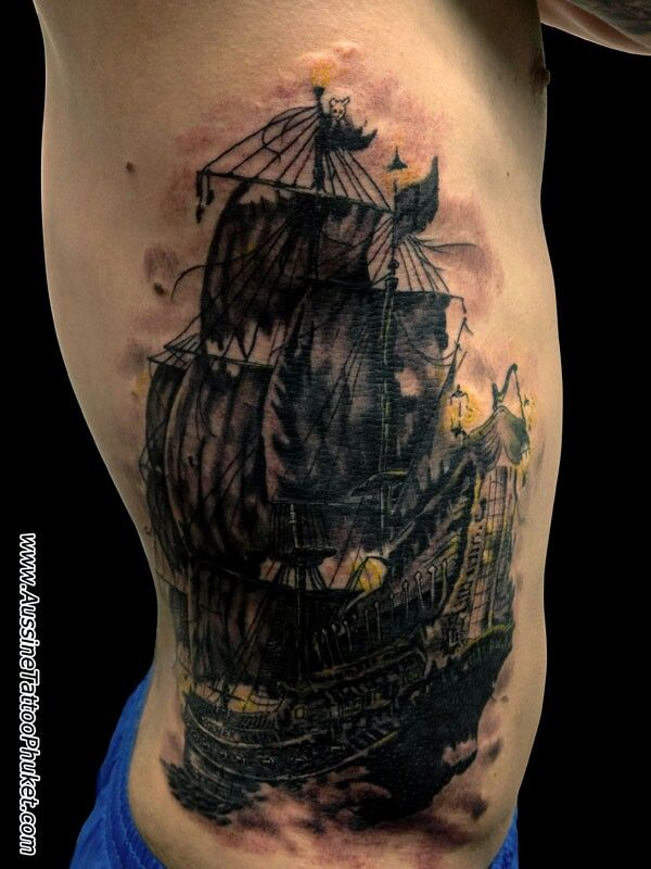 58+ Ghost Pirate Ship Tattoos Ideas
