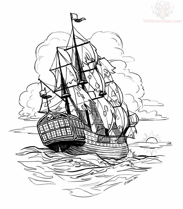 66+ Pirate Ship Tattoos Ideas