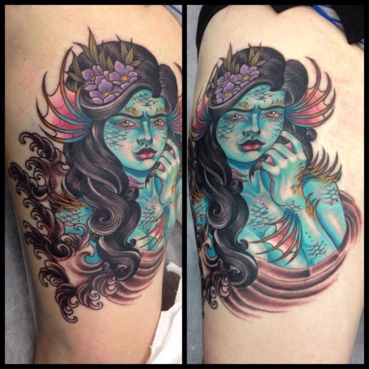 37 neo mermaid tattoos collection for Traditional mermaid tattoo