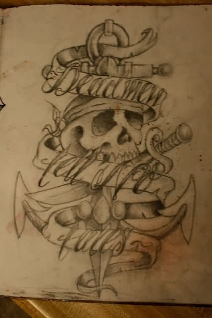 0599b0ddc4180 Attractive Pirate Anchor In Skull And Banner Tattoo Design