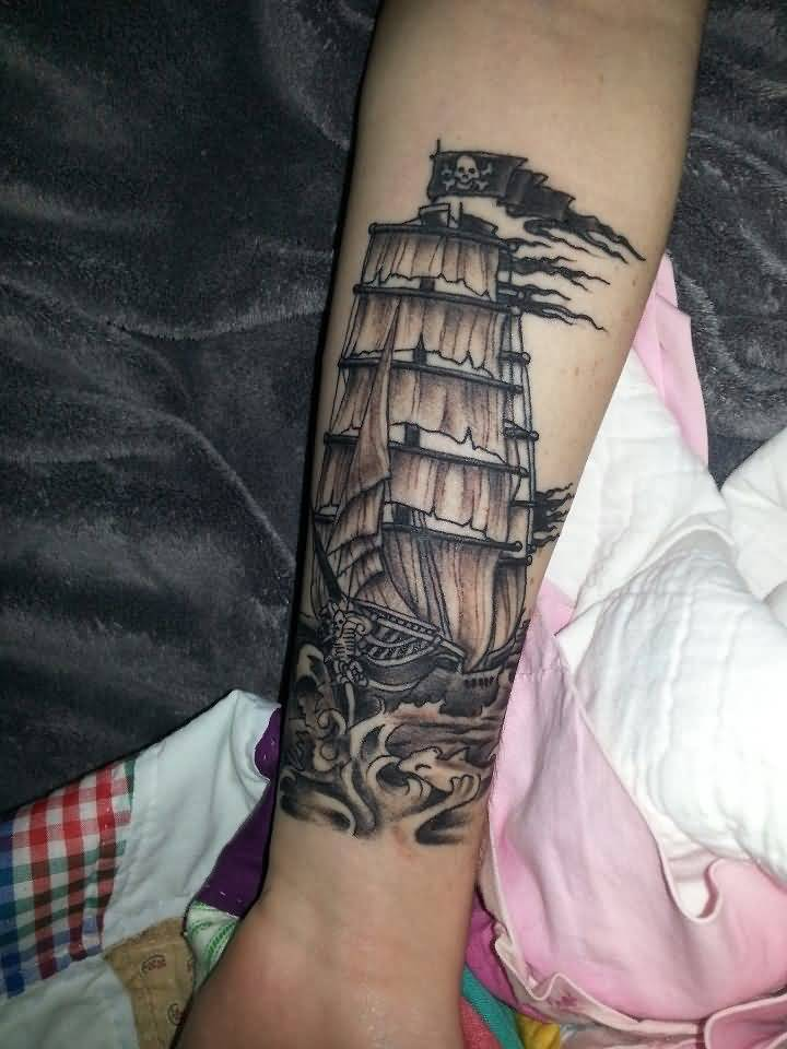 f1ed6cdbe Awesome Black Ink Pirate Ship Tattoo On Forearm