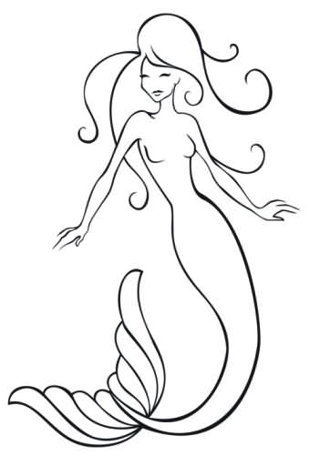 Out Line Of A Mermaid