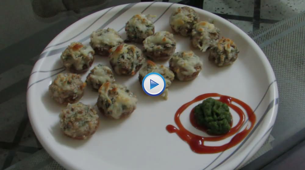 Baked Stuffed Cheesy Mushrooms
