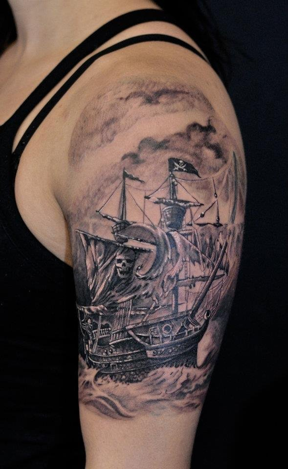 58 ghost pirate ship tattoos ideas. Black Bedroom Furniture Sets. Home Design Ideas