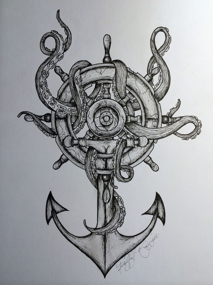 61 pirate anchor tattoos collection for Anchor and wheel tattoo