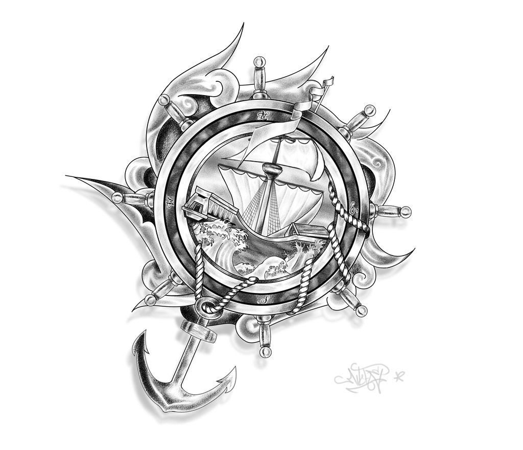 Pirate Ship Tattoo Design: 61+ Pirate Anchor Tattoos Collection