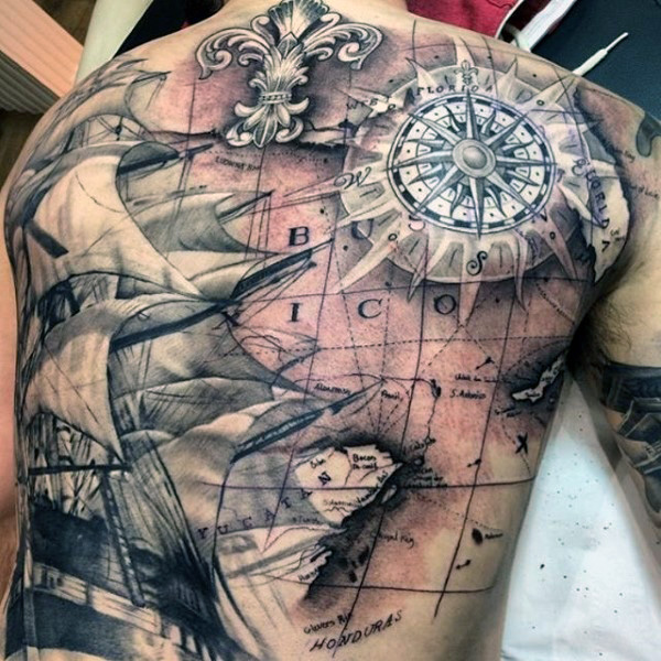 60 latest pirate tattoos ideas black and grey pirate ship with map tattoo on full back gumiabroncs Choice Image
