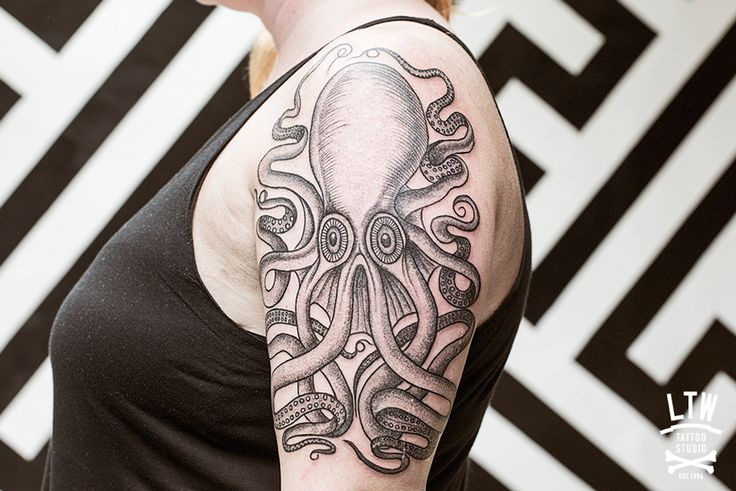 58+ Awesome Black Octopus Tattoos Collection