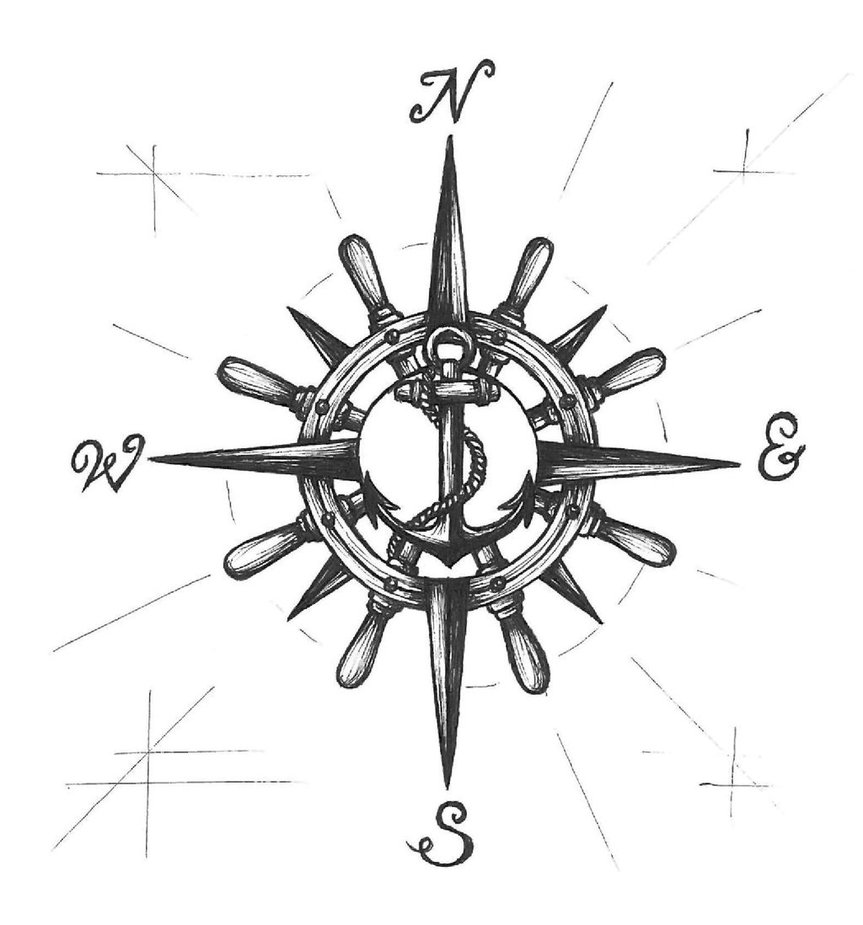 black ink pirate anchor with compass tattoo design by tsukiokashinji. Black Bedroom Furniture Sets. Home Design Ideas