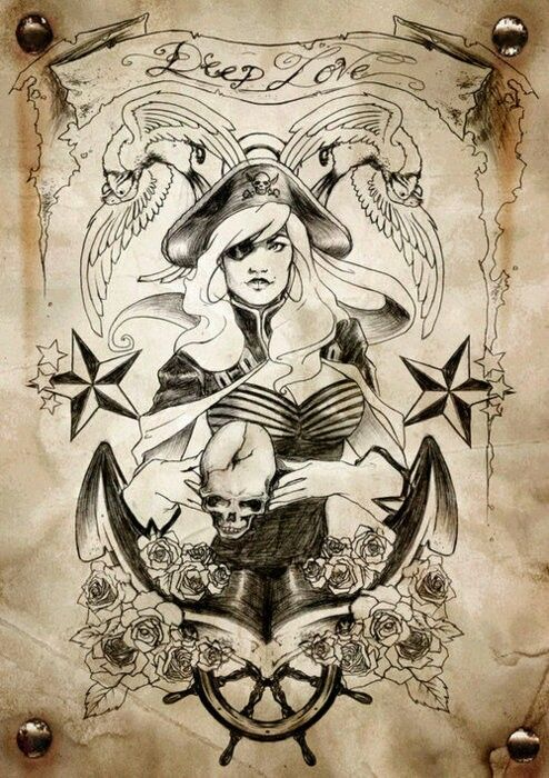 54 pirate tattoo designs and ideas. Black Bedroom Furniture Sets. Home Design Ideas