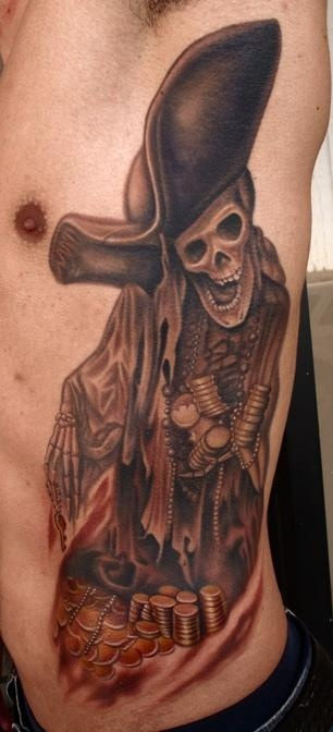 33 best pirate skeleton tattoos for Skeleton pirate tattoo