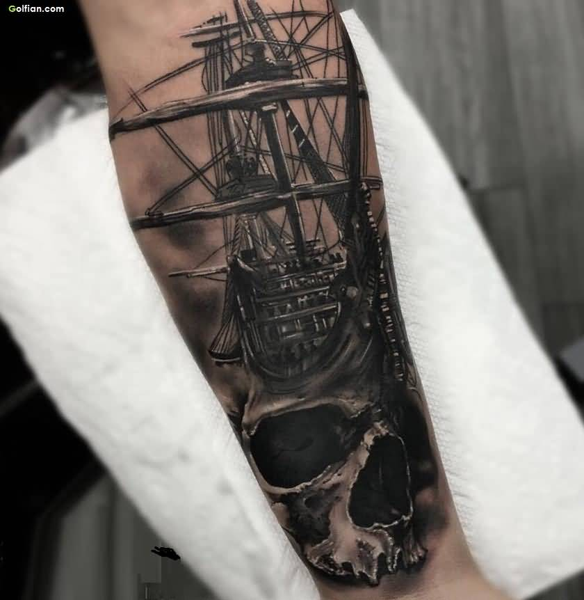 18 pirate tattoos on forearm for Skeleton pirate tattoo