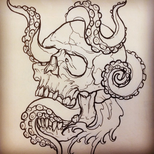 Tattoo Drawing Outline : Octopus skull tattoo designs and ideas