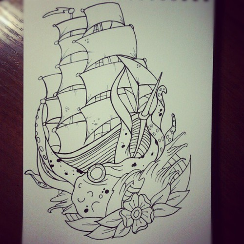 Octopus Shipwreck Drawing 53+ Octopus And...