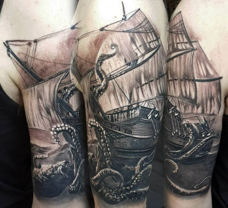 Octopus Ship Tattoo Sleeve 53+ Octopus And Ship T...