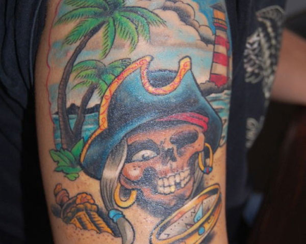 39 colorful pirate tattoos. Black Bedroom Furniture Sets. Home Design Ideas