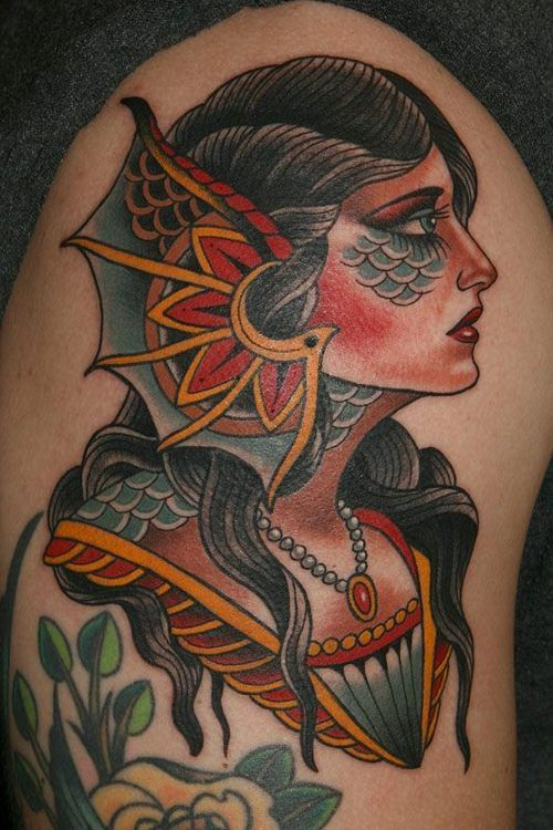 Neo Traditional Mermaid Tattoo: 30+ Traditional Mermaid Tattoos Ideas