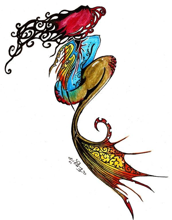 colorful tribal mermaid tattoo design by neko